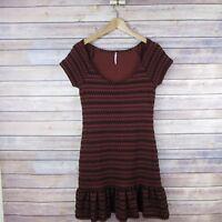 FREE PEOPLE Women's Short Sleeve Scoop Neck Dress SIZE M Medium Brown & Black