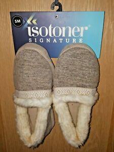 Isotoner Women's Tan Print Sweater Knit Slipper