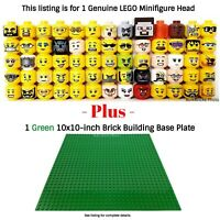 1 LEGO Minifigure Head PLUS 1 Green 10x10-inch 32x32-stud compatible base plate