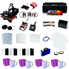 8in1 Professional Sublimation Heat Press Machine Epson 1430 Printer  CISS KIT