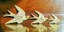 More details for vintage set of 3 brass graduated flying swallows