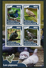 Central African Republic 2016 MNH Pigeons 4v M/S Birds Wood Pigeon Turtle Dove