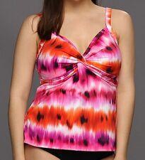 MiracleSuit Womens Swimwear Tankini Top Sz 10 Coral Pink Ikat Roswell 471261