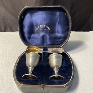 COMPLETE COUPLES STERLING EGG SET BY BIGELOW & KENNARD BOSTON. GOLD WASHED