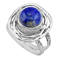 4.77cts Natural Blue Lapis Lazuli 925 Silver Solitaire Ring Size 6.5 P91047