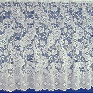 Balmoral Cheap Clearance Floral White Net Curtain - Sold By The Metre In 6 Drops
