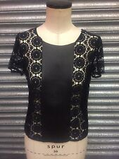 Bailey 44 Cotton Lace and Leather Top Size Small - VR