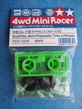 TAMIYA 15239 SMALL DIA. SEMI-PNEUMATIC TIRES w/WHEELS 4WD MINI RACER SLOT PART