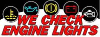 """Check Engine Lights Banner 18""""x48"""" Free Shipping & Customization, Ready to Hang!"""
