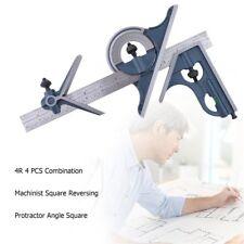 4R 4 PCS Machinist Square Combination Reversing Protractor Angle Square Set GWQ