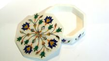 Marble Box handmade semi precious stone floral inlay art decor and gift