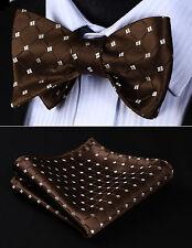 BC806ZS Brown Beige Check Bowtie Men Silk Self Bow Tie handkerchief set