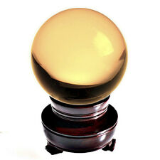 """Yellow (Topaz) Crystal Ball 150mm 6"""" Include Wooden Stand"""