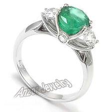 Diamond Emerald Engagement Three-Stone Ring 14k White Gold.