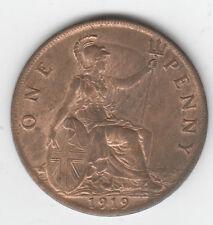 PENNY 1919 GEORGE V  aUNC  LUSTRE LUSTER