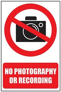 NO PHOTOS or FILMING WARNING SAFETY STICKER SIGN window Vinyl glass wall door