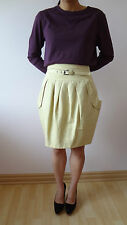 CUE pale yellow cream knee-length pleated tulip skirt with belt Womens Size 10