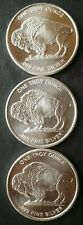 Lot of Three 1oz Silver Buffalo/Indian Rounds