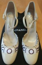 CHANEL Vintage Cream Leather/Printed Satin High Heel MaryJane Pump NEW Size 41