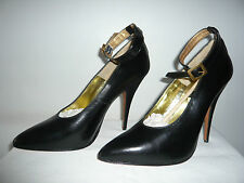 "Leather Court Shoes Box Black ""Monica "" Italy (1980) New - T.41"