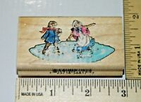 Children Ice Skating 1999 Christmas Collection Inkadinkado Rubber Stamp 6817L
