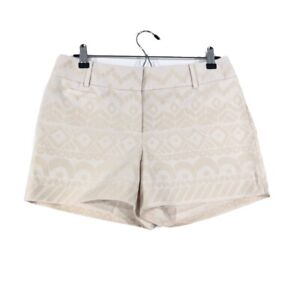 Ann Taylor Loft Womens Size 4 Chino Shorts Ivory Beige Textured Printed Pockets