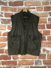 $1195 Theory XXL New York Brown Leather Motorcycle Cafe Racer Biker Vest Jacket
