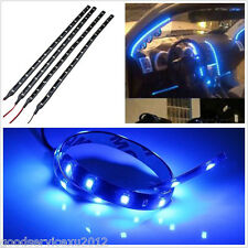 4 Pcs Waterproof DC12V 15LED SMD Blue Car SUV Grille Decor Flexible Light Strips
