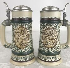 """Vtg Beer Steins """"Rainbow Trout� & """"English Setter�"""