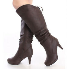 Women's Knee High Stiletto Lace Up Round Toe Slouchy Dress Boots in Brown Cognac