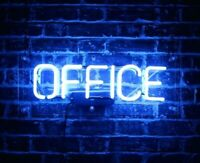 "14""x7""OFFICE Neon Sign Light Handmade Real Glass Tube Wall Hanging Room Decor"