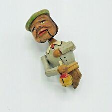 Vintage Arni Mechanical Carved Drinking Man Bottle Top Wine Cork Italy Hobo Bum