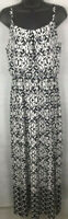 AB STudio Womens SZ M  Black & White Long Maxi Sleeveless Dress Thin Strap Knit