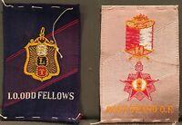2 Fraternal Org. Silks EGYPTIENNE CIGARETTES Odd Fellows Past & Grand O.F.