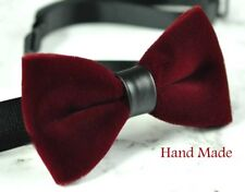 Men Fashion Burgundy DARK WINE RED Velvet Bow Tie Bowtie Craft Wedding Party