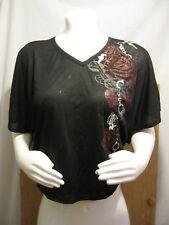 NWT One Step Up Black Floral Print Semi Sheer V-Neck Dolman Sleeves Womens Plus