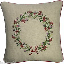 "CHRISTMAS WREATH EMBROIDERED LINEN BLEND 18"" CUSHION COVER #HTAERW HC"