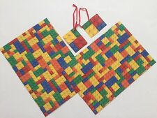 LEGO BLOCKS WRAPPING PAPER-2 SHEETS/2 TAGS-RETRO-BIRTHDAY GIFT WRAP 50CM X 70CM