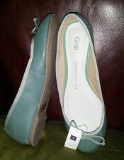 WT GAP LEATHER FLATS - TEAL COLOR
