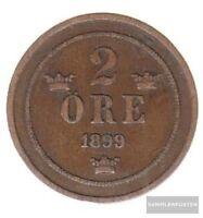 Schweden KM-Nr. : 746 1889 sehr schön Bronze 1889 2 Öre Gekröntes Monogramm