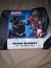 "Disney Marvel Black Panther Gray Black Plush Blanket 60 X 90"" New"