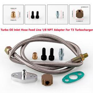 "36"" Oil Feed Line 4AN Turbo Braided Hose Kit for T3/T4 Honda Acura Nissan Mazda"