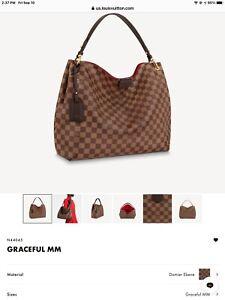 New Louis Vuitton Graceful MM Damier Ebene Canvas Bag