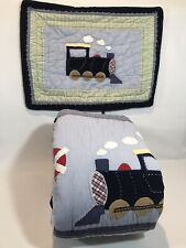 Pottery Barn Kids Trains Auto Quilt Comforter Bedspread Full Queen + Sham EUC