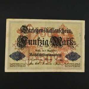 German World War Period 1914 50 Mark Reichsbanknote VF