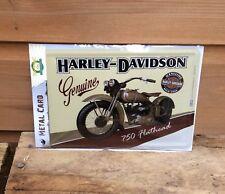 Harley Davidson Metal Carte. Harley Davidson 750 flathead, Vintage Signe Rétro