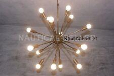 Mid Century 16 Arms Modern Patina Brass Sputnik Chandelier Sputnik Light