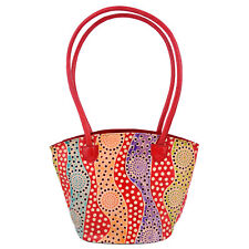 India Shantiniketan  Real Leather Boho Tote Bag Red Polka Dots Gift For Her