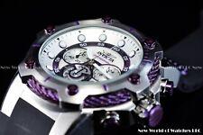 Invicta Men 52mm Bolt Chronograph Silver White/Purple Polyurethane Strap Watch