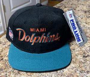 VTG Miami Dolphins Sports Specialties Script Snapback Hat NFL NWT NOS Wool Rare